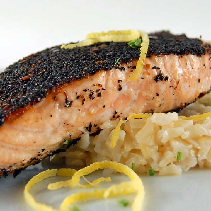 Tea-Rubbed Salmon with Lemon-Scallion Rice