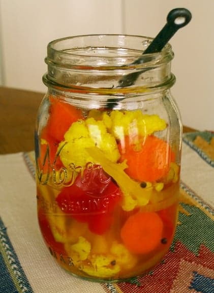 Pickled Cauliflower, Carrots, and Red Bell Pepper