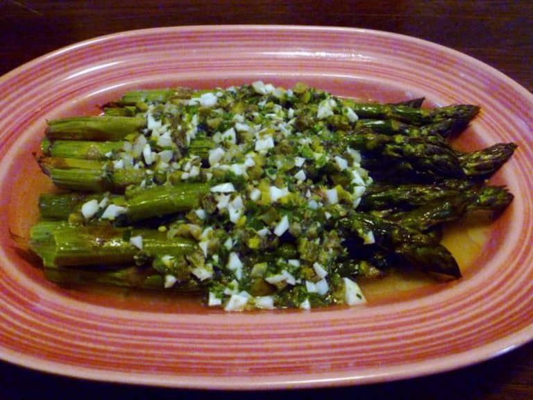 Roasted asparagus with sauce gribiche ona platter