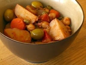vegetarian passover stew with potatoes olives, carrots, and chickpeas