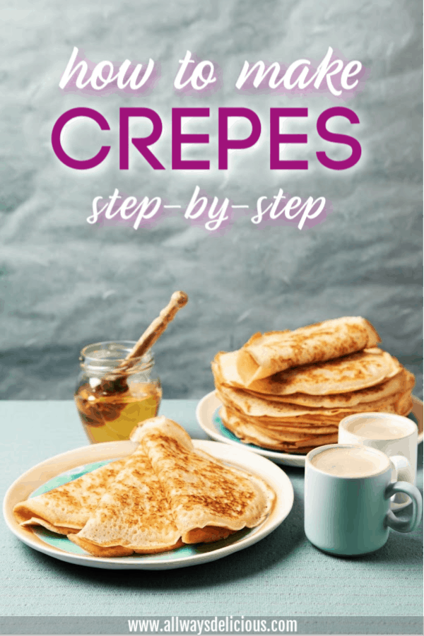 pinterest pin for how to make crepes post