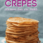 pinterest pin featuring a stack of crepes