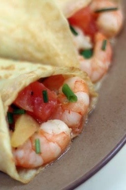 Crepes with Shrimp, Tomato, and Chives