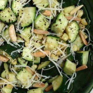 Zucchini salad with almonds and corn