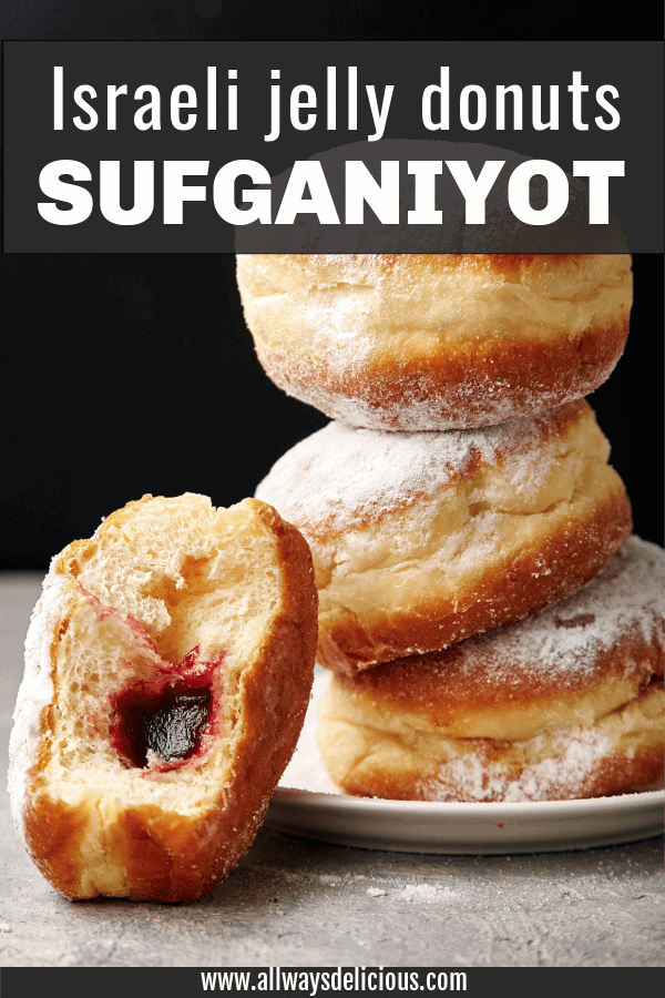 Pinterest pin for sufganiyot or jelly donuts for hanukkah. text says israeli jelly donuts sufganiyot. image shows a stack of 3 jelly donuts on a white plate. There is a fourth jelly donut leaning agains the stack. the fourth donut has a bite taken out so you can see the jelly in the center.