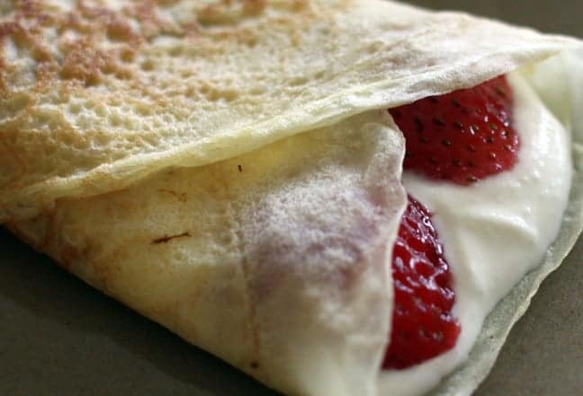 Crepes filled with strawberries and sweet ricotta cream