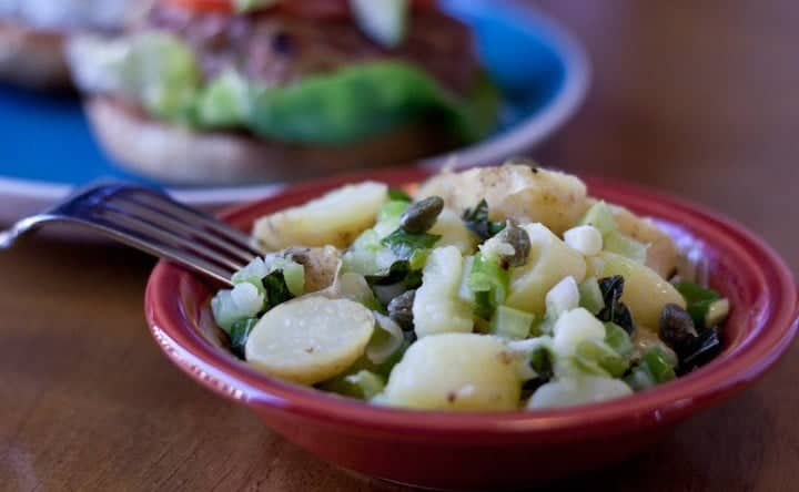 warm potato salad with lemon and mint