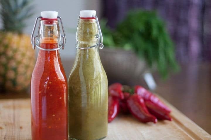 Homemade hot sauce in bottles