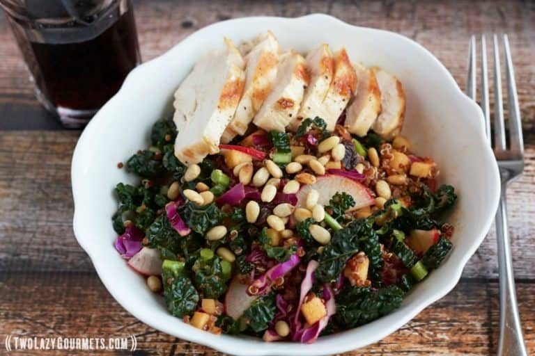 quinoa salad with grilled chicken, kale, cabbage, raisins, radishes, and apple vinaigrette