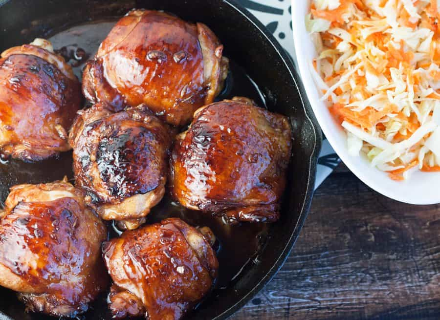 Crispy chicken Thighs in Honey-Sriracha Glaze with Cabbage Slaw, from Home Skillet