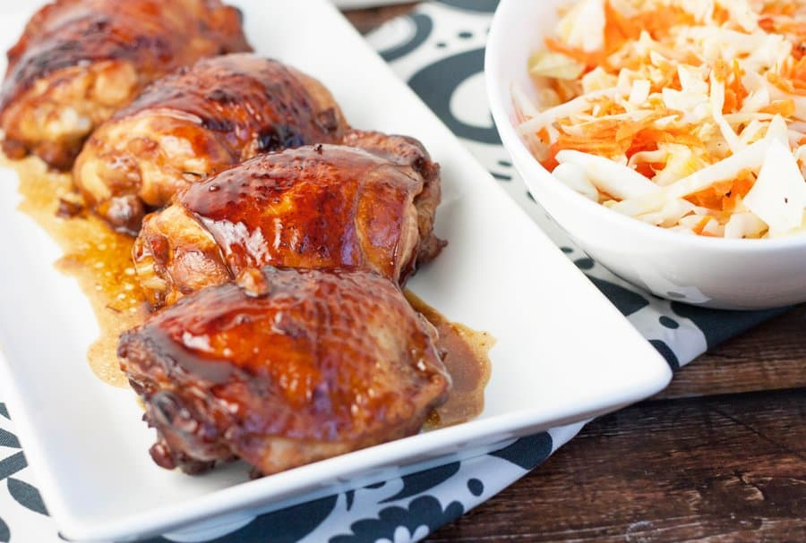 Crispy Chicken Thighs with Honey Sriracha Glaze and Cabage Slaw