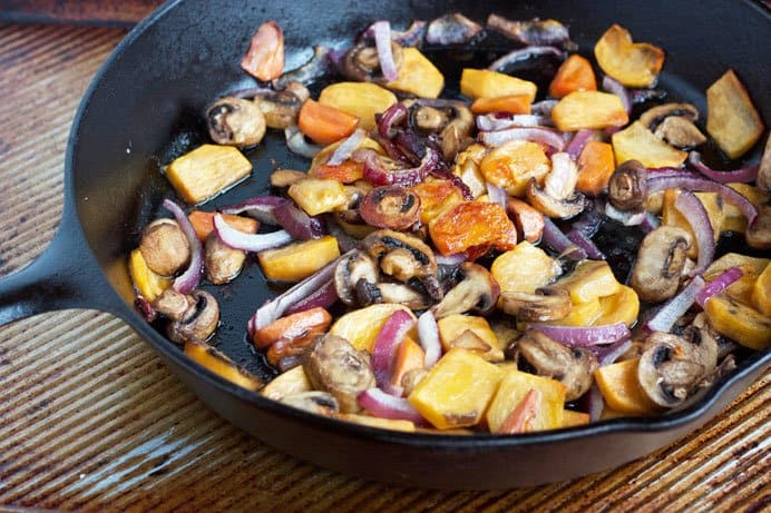 roasted fuyu persimmons in skillet