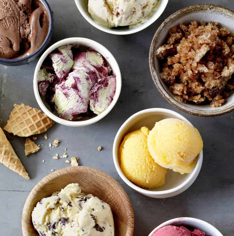 homemade ice cream recipe in bowls