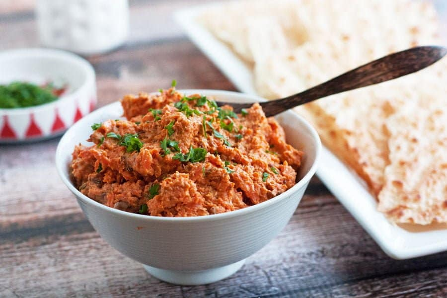 roasted carrot spread in a bowl