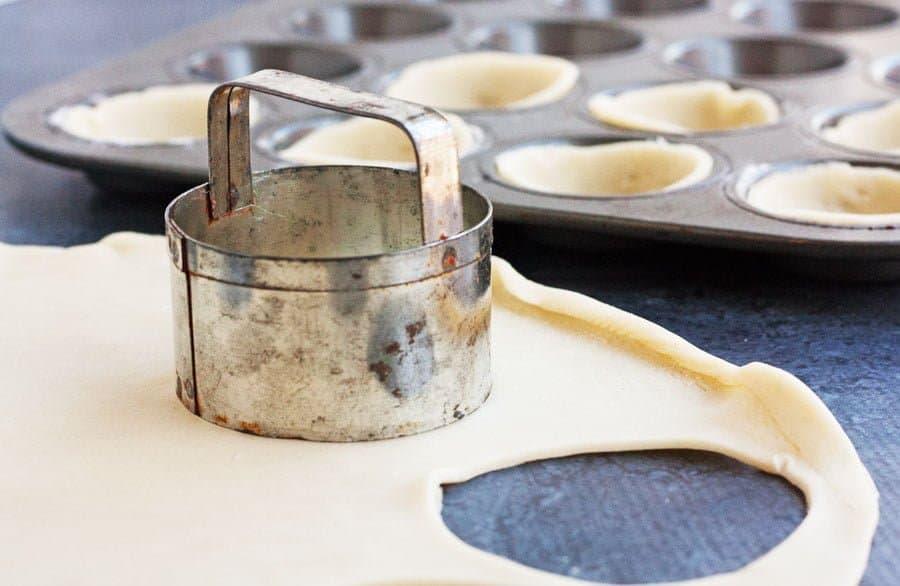 cutting dough for salt cod tartlets
