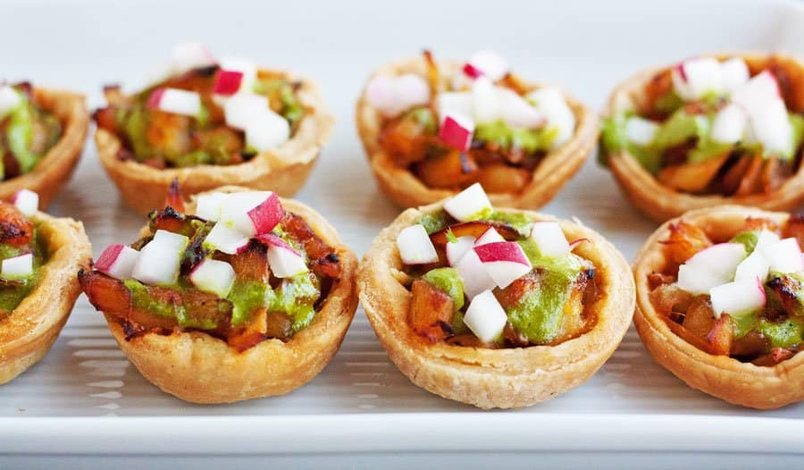 salt cold tartlets with radishes