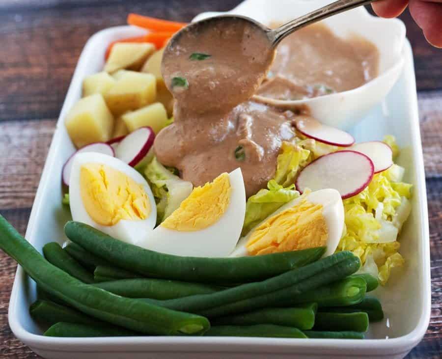 thai peanut sauce on gado gado style salad