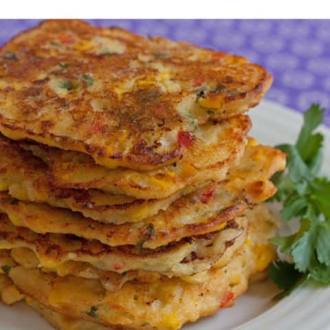 Spicy Corn Cakes with Red Chiles, Cilantro, and Goat Cheese