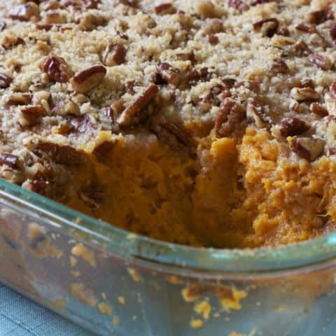 Bourbon-Maple Sweet Potato Custard with Crunchy Pecan Topping