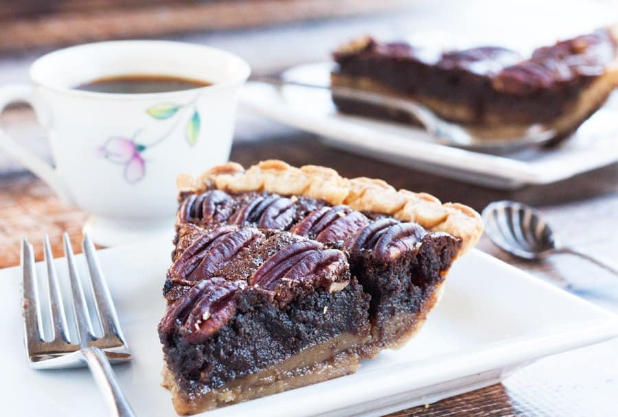 chocolate pecan pie slice