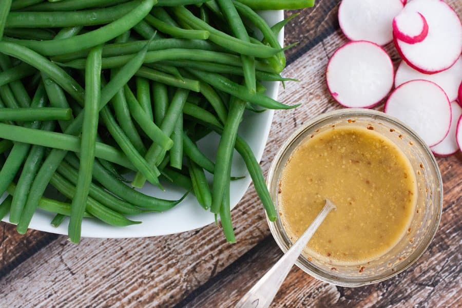 green beans sliced radishes and whole grain mustard dressing