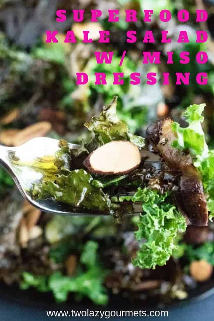superfood kale salad with miso dressing is the perfect holiday pretox or detox
