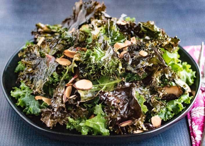 miso dressing on kale salad