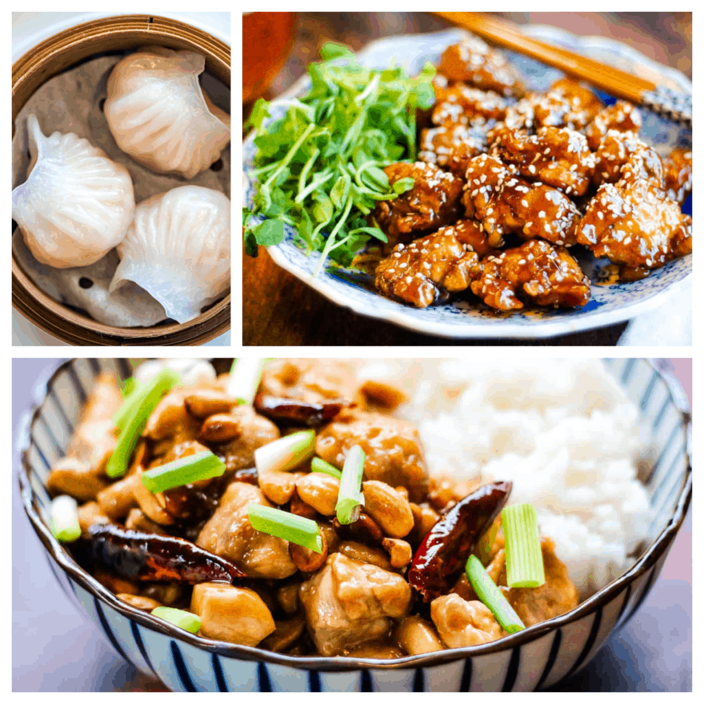 Collage of 3 photos: upper left is an overhead shot of 3 har gow in a steamer basket, top right is a plate of sesame chicken, the bottom is a photo of kung pao chicken in a bowl with white rice