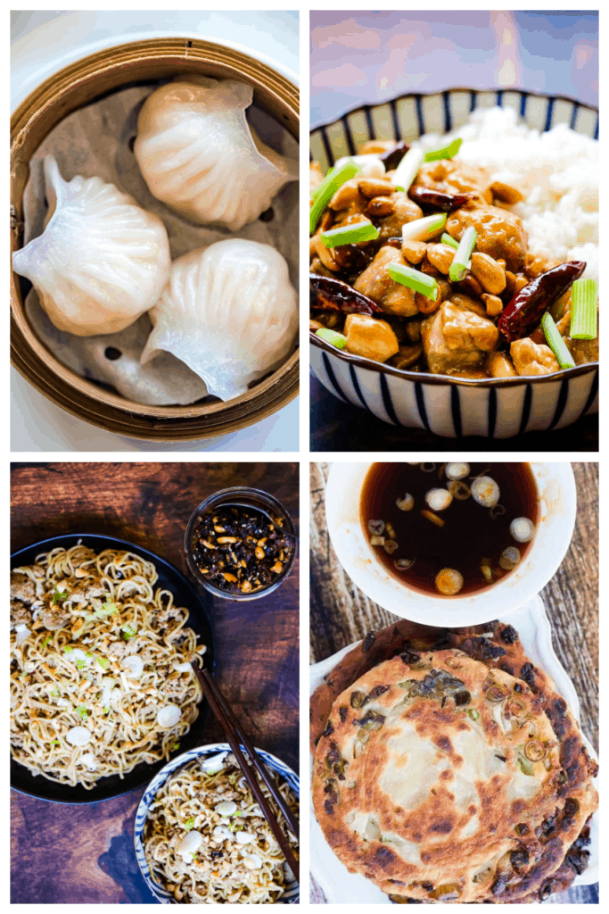 collage of 4 photos: upper left 3 har gow in a steamer basket; upper right kung pao chicken in a bowl with white rice; lower left sesame noodles; lower right scallion pancakes
