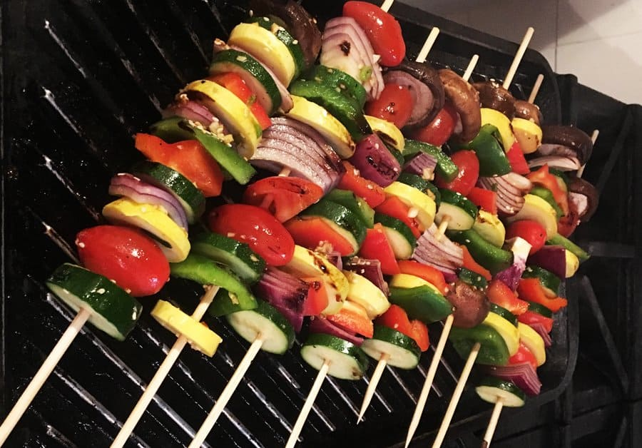chinese new year veggie skewers on the grill pan