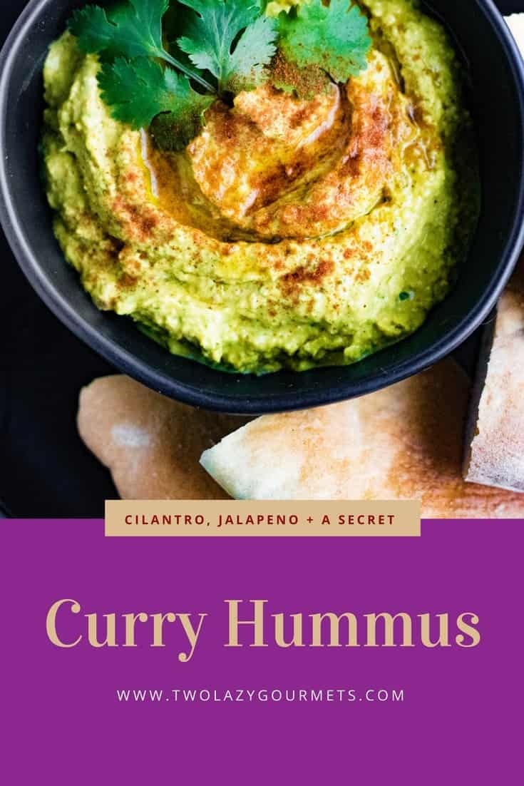 Curry hummus is loaded with flavor from curry powder, garlic, cilantro, hummus, and a secret ingredient that's probably already in your pantry.