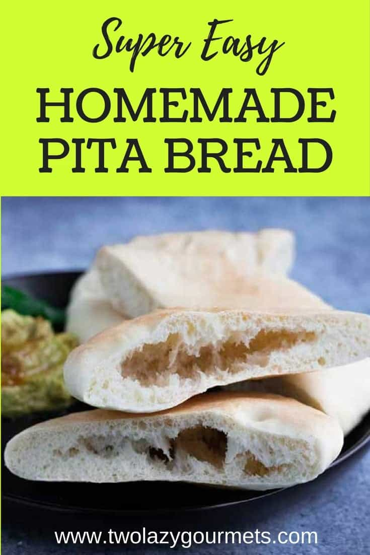 Homemade pita bread is super easy to make--especially if you have a convection oven. It's perfect for stuffing or dipping. #homemade #homemadebread #bakingbread #pitabread #easyrecipe