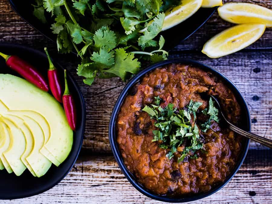 Vegetarian Instant Pot Chili with black beans and pumpkin