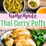 pinterest pin for homemade thai curry puffs
