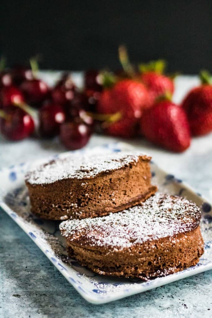 chocolate souffle pancakes are made with recipe as the plain ones but without the lemon juice and with half of the cake flour substituted with cocoa powder