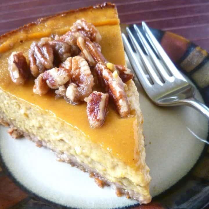 gluten-free pumpkin pie with pecan praline topping