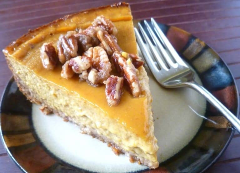 gluten-free pumpkin pie with pecan praline topping