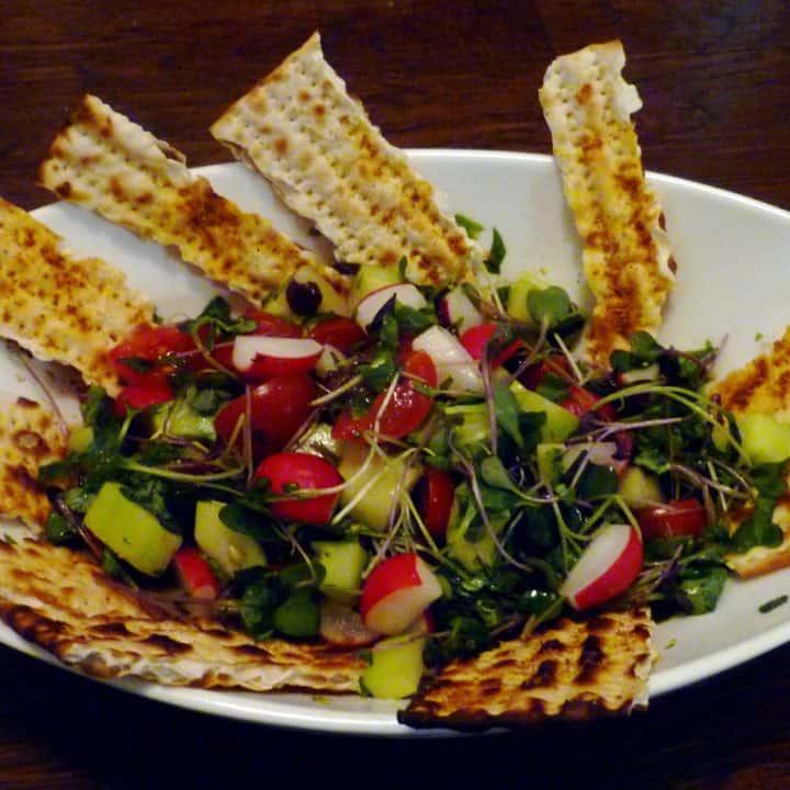 matzoh fattoush bread salad for passover