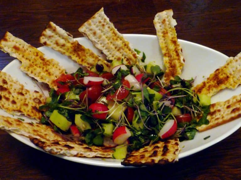 matzoh fattoush bread salad for passover