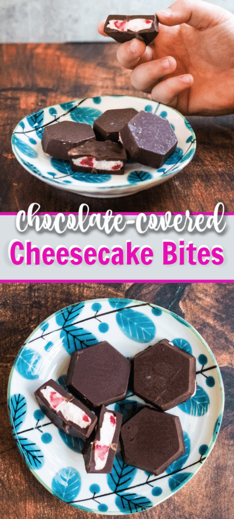chocolate covered cheesecake bites long pin