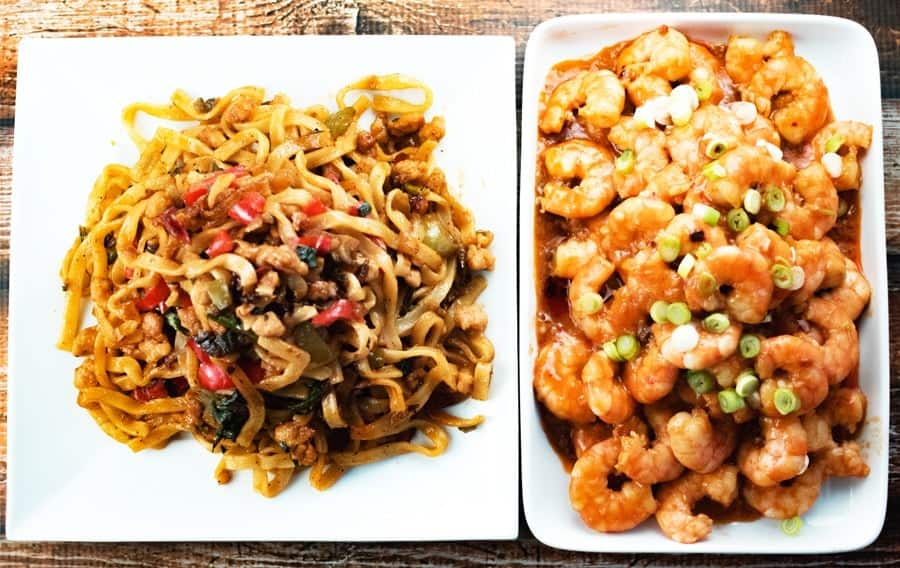 Szechuan shrimp paired with drunken noodles for Chinese new year