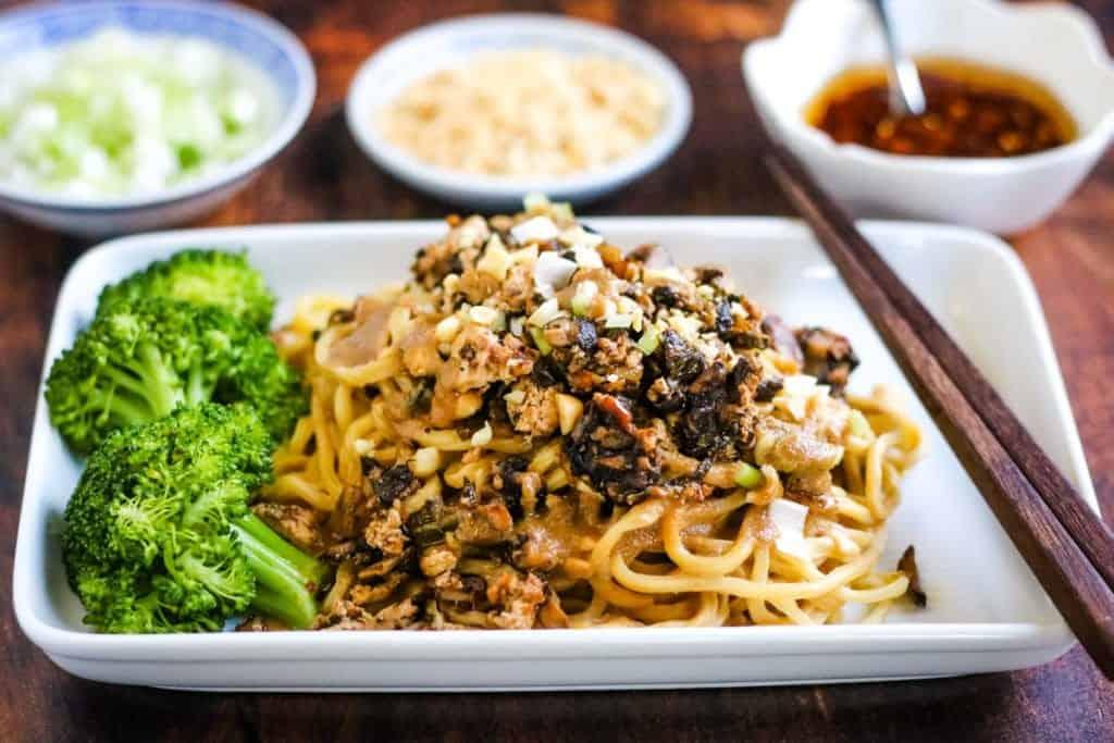 Vegetarian Dan Dan Noodles with Tofu and Shiitakes