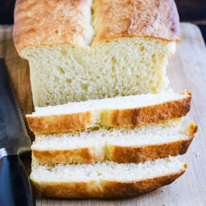 Buttermilk bread sliced on a board