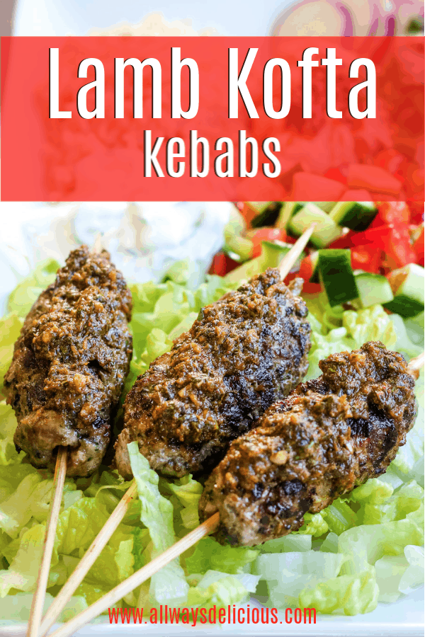 pinterest pin for lamb kofta kebabs