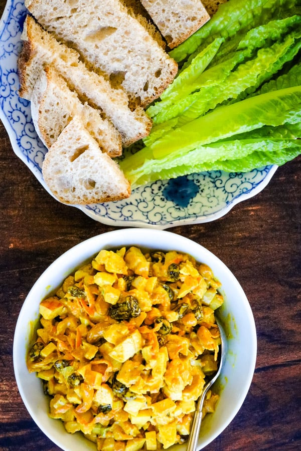 curried chicken salad in a bowl shot from overhead
