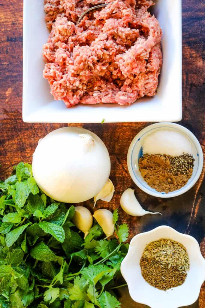ingredients for lamb kofta laid out