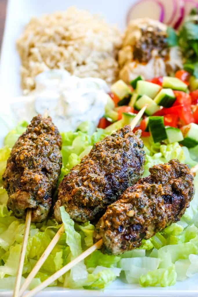 low angle shot of lamb kefta kebabs
