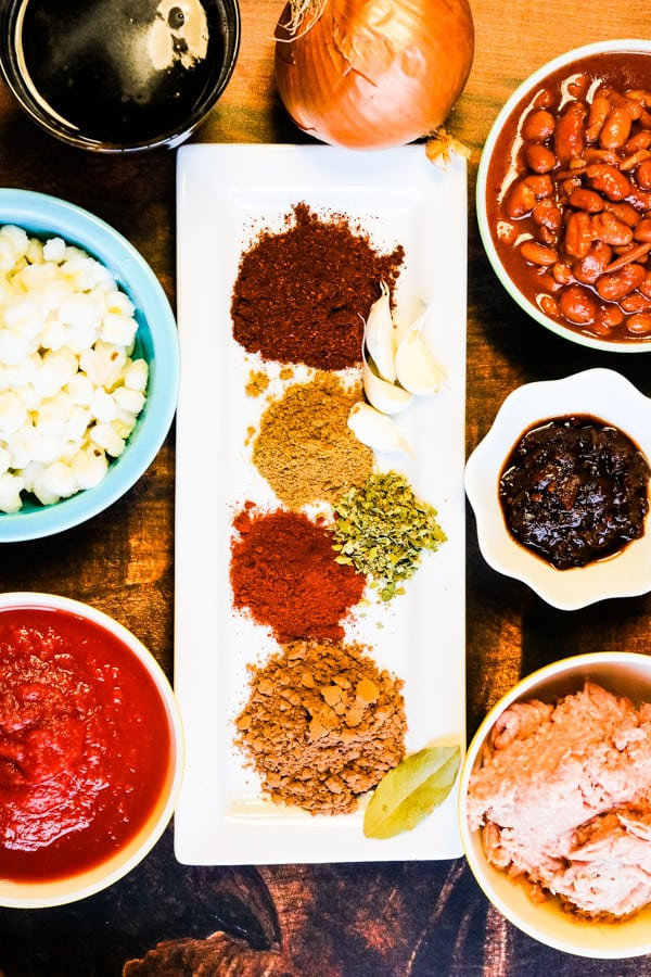 ingredients for instant pot chili laid out