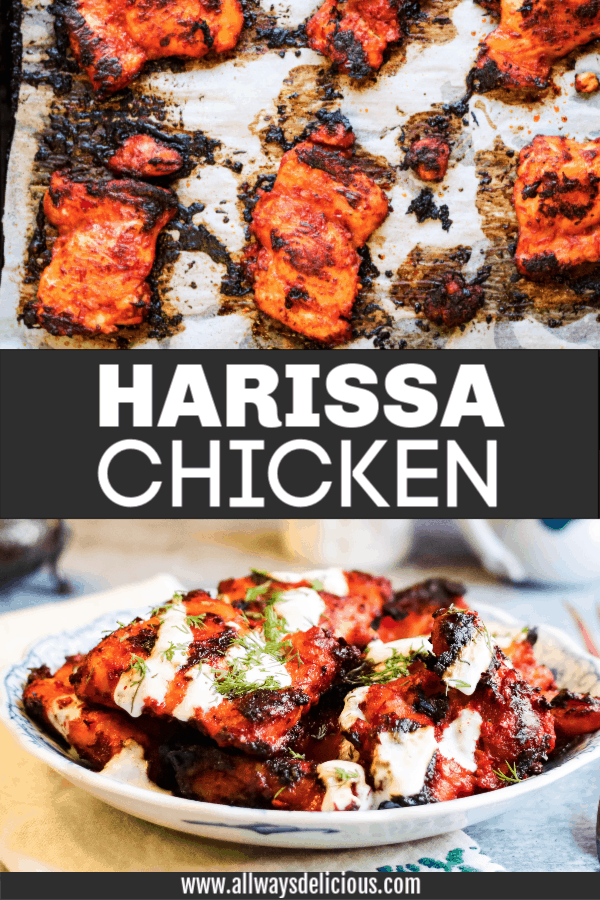 pinterest pin for harissa chicken recipe