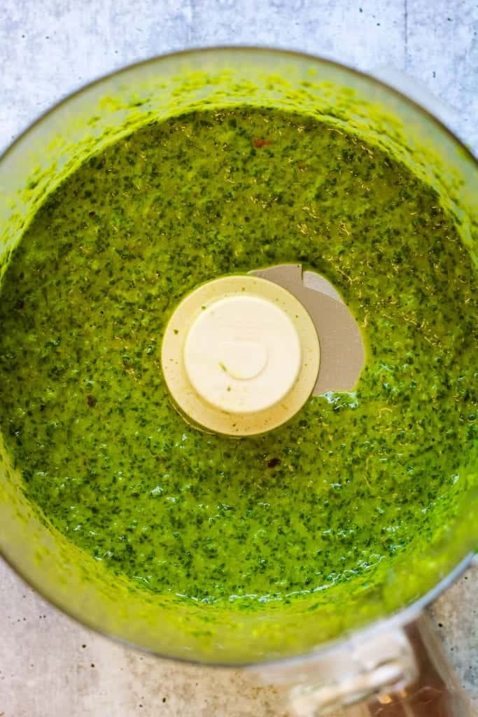 yemenite zug or zhoug sauce blended in a food processor